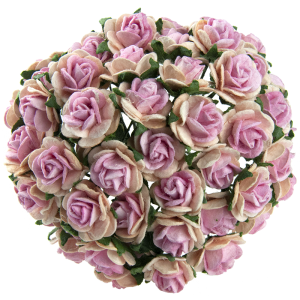 Хартиени цветя, 10бр. -TONE BABY PINK WITH PINK CENTRE MULBERRY PAPER OPEN ROSES MKX-010